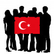 Young with a Flag of Turkey — Stock Photo
