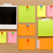 colorful empty notes and photo frames — Stock Photo