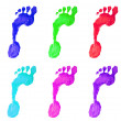 Colorful stamps of feet - Stock Photo