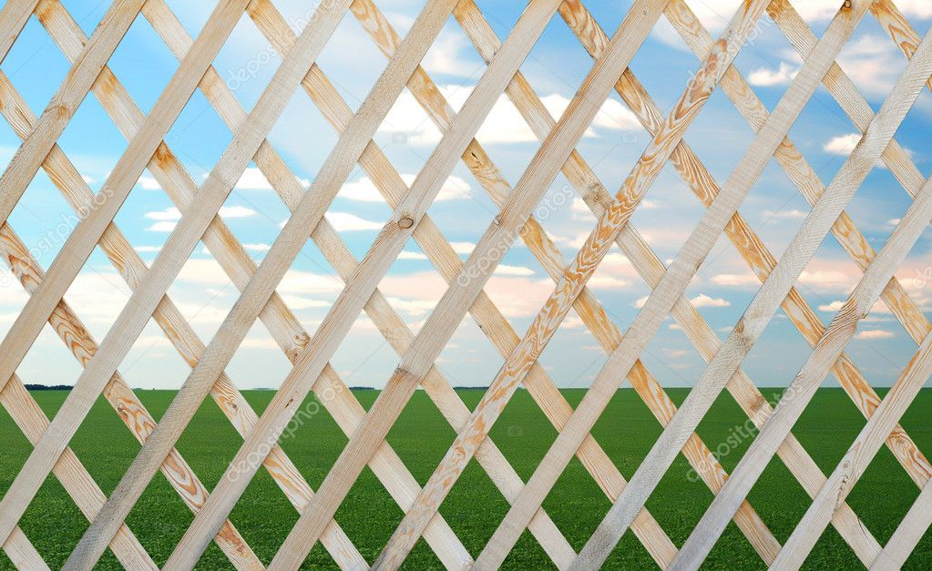 Wooden trellis over summer landscape background — Stock Photo #3730686