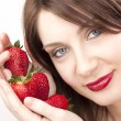 Woman with strawberry — Stock Photo