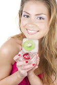 Girl with frozen fruit — Stock Photo