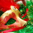 Carnival mask on a green ornament — Stock Photo
