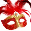 Carnival mask with feathers on white — Stock Photo #2767788