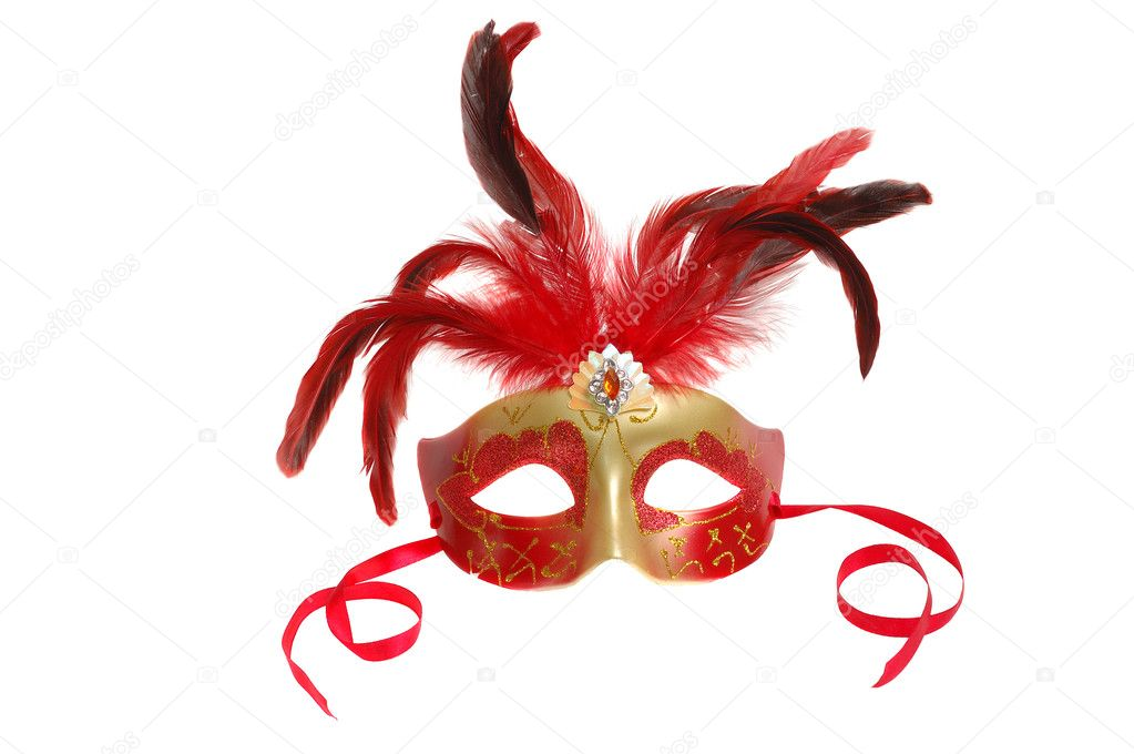 Carnival mask with feathers isolated on the white  Stock Photo #2767792