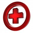 Red cross in the circle — Stock Photo