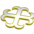 Silver with gold frame heraldic cross — Stock Photo