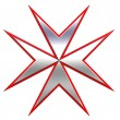 Red with silver maltese cross — Stock Photo