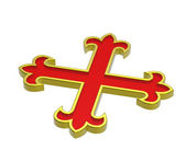 Red with gold frame heraldic cross — Stock Photo