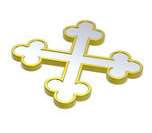 Chrome with gold frame heraldic cross — Stock Photo
