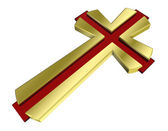 Ruby with gold frame Christian cross — Stock Photo