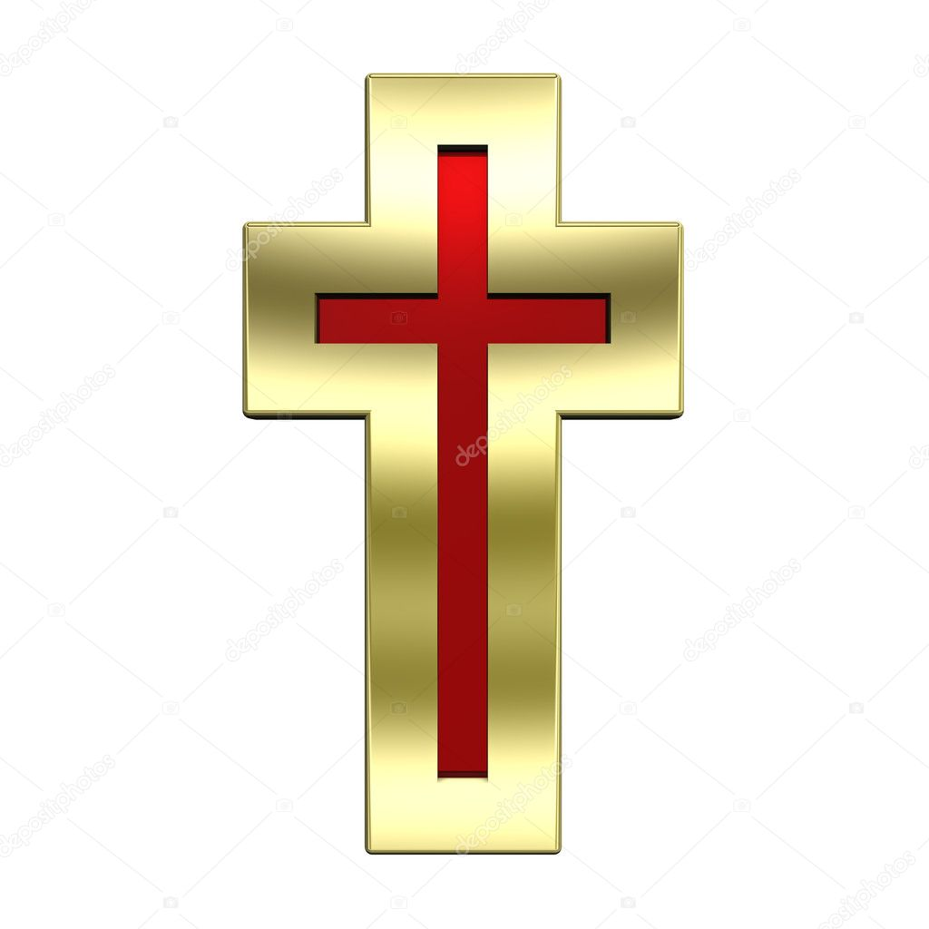 Ruby with gold frame Christian cross isolated on white. Computer generated 3D photo rendering.   Stock Photo #2705204