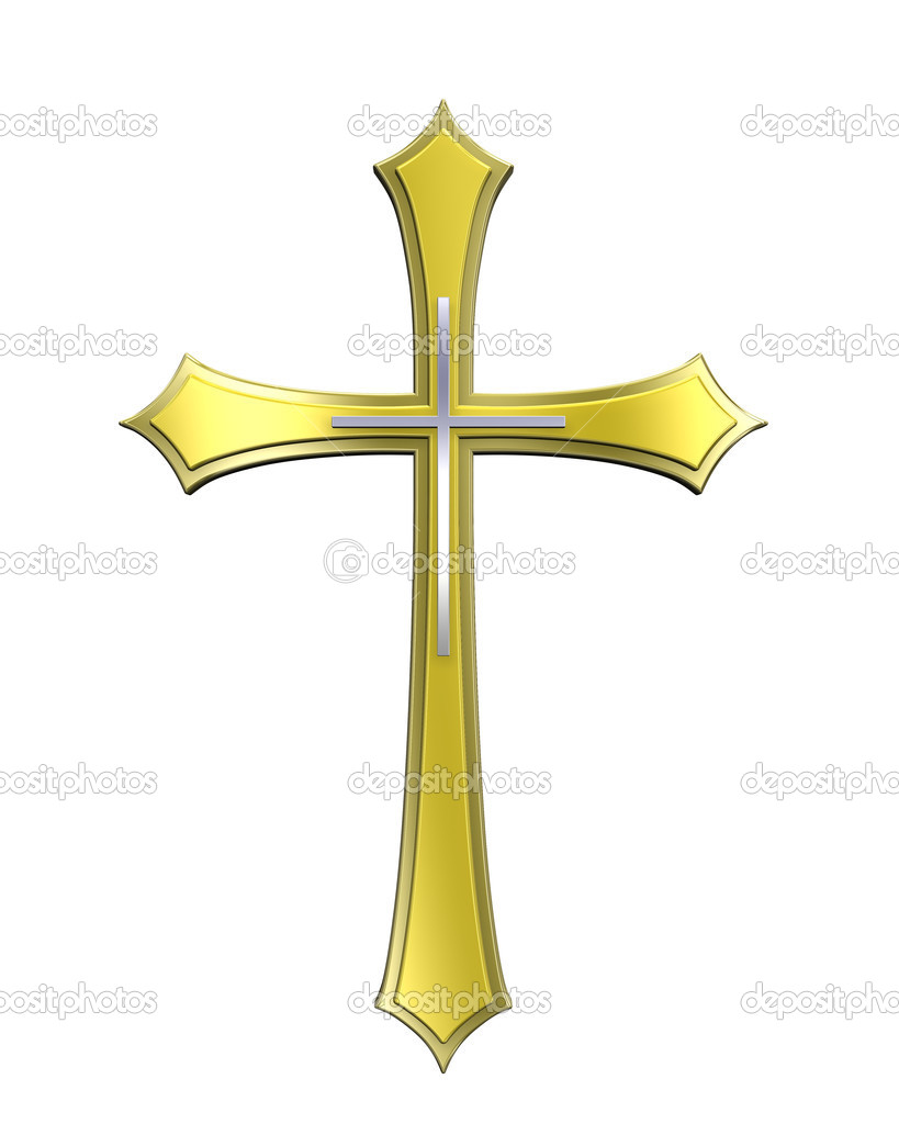 Gold Christian cross isolated on white. Computer generated 3D photo rendering.  — Photo #2707648