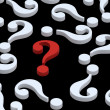 White question marks with red one. -  