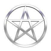 Chrome pentagram isolated on white — Stock Photo