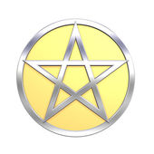 Gold-silver pentagram isolated on white — Stock Photo
