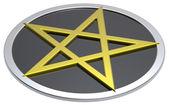Gold-black pentagram isolated on white — Stock Photo