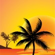 Stock Vector: Red sunset and palm