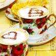 Stock Photo: Cappuchino, with chocolate heart and cake
