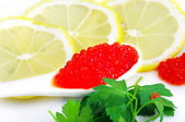 Spoon with red caviar — Stock Photo