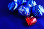 Blue Christmas baubles — Stock Photo