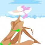 Постер, плакат: Seated girl on the beach