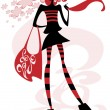 Girl with a big bag — Stock Vector