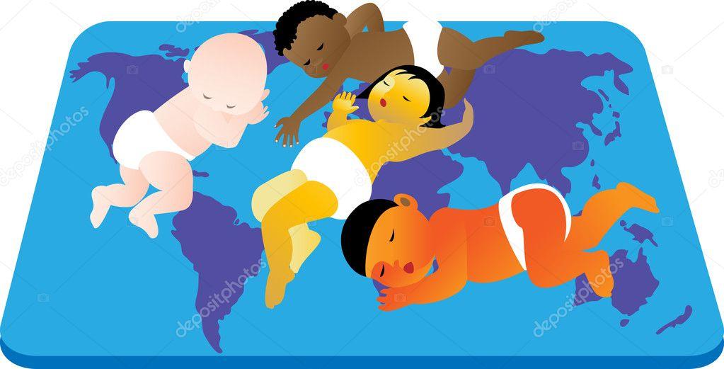Children sleeping - stock illustration