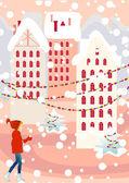 Christmas_town — Stock Vector