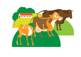 Bull, cow and calf — Stock Vector