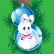 Two Christmas ball and bunny — Stock Vector
