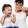 To clean a teeth. — Stock Photo