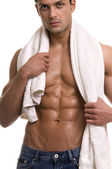 Man with the towel. — Stock Photo