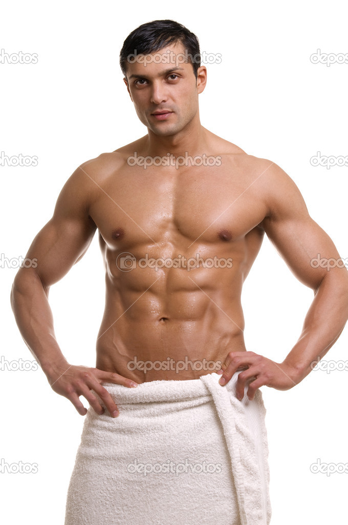 Beautiful muscular man with the towel.  Stock Photo #2728302