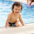 Little boy in pool. — Stock Photo