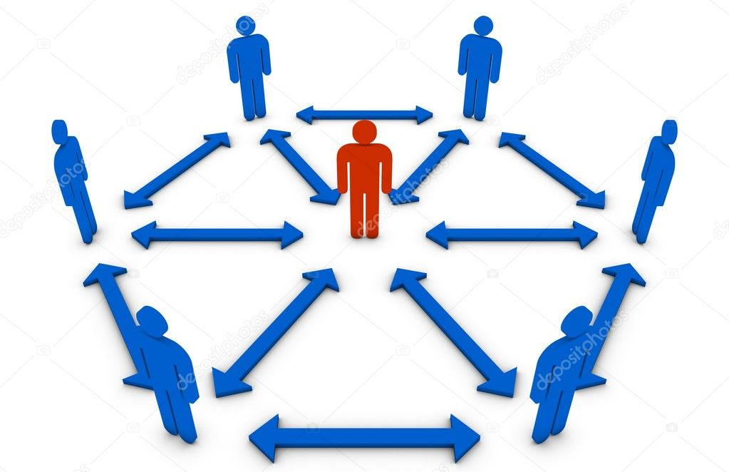 Concept of the interaction between team members and its leader. — Stock Photo #3459664