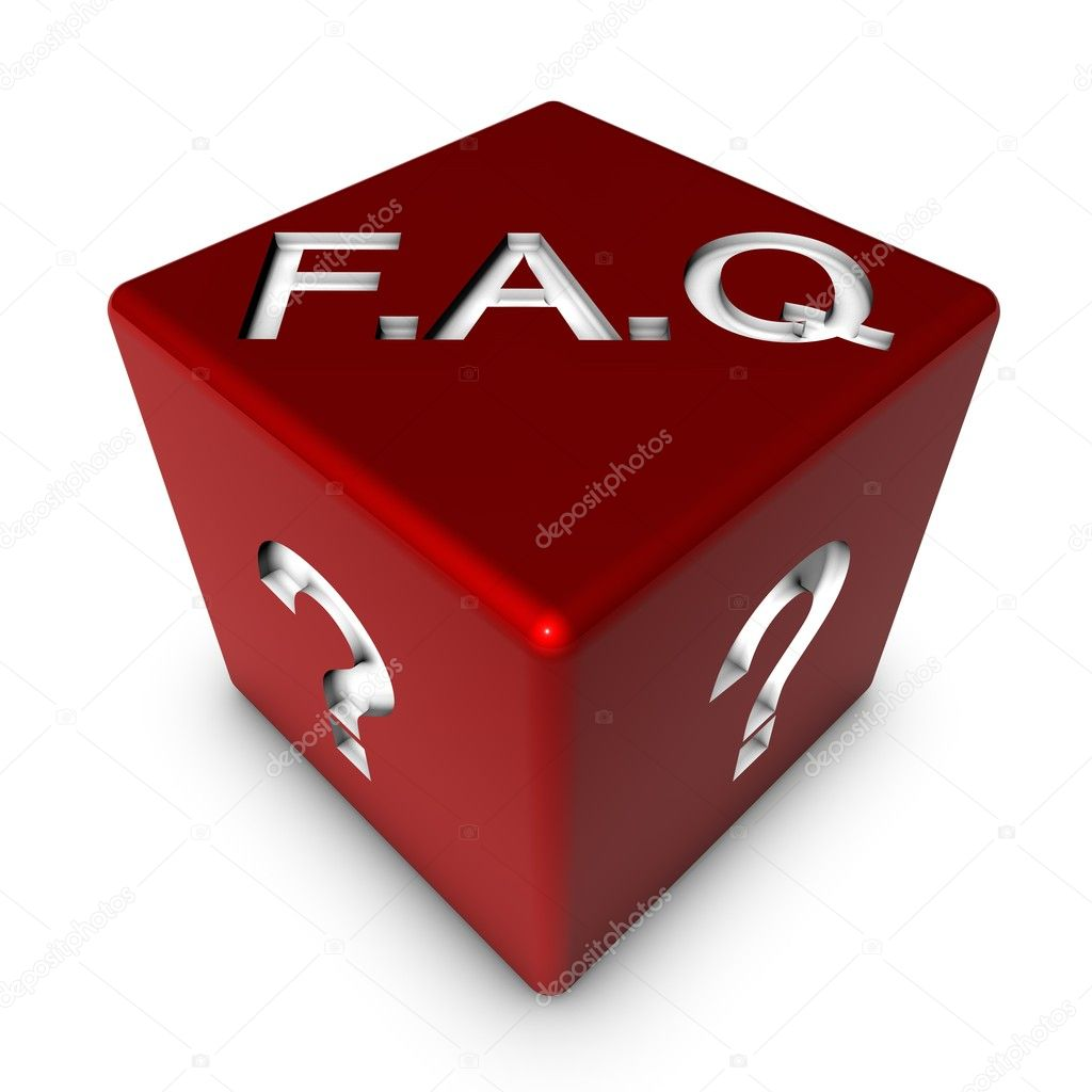 A red dice with FAQ and question marks on it. — Stock Photo #3465718
