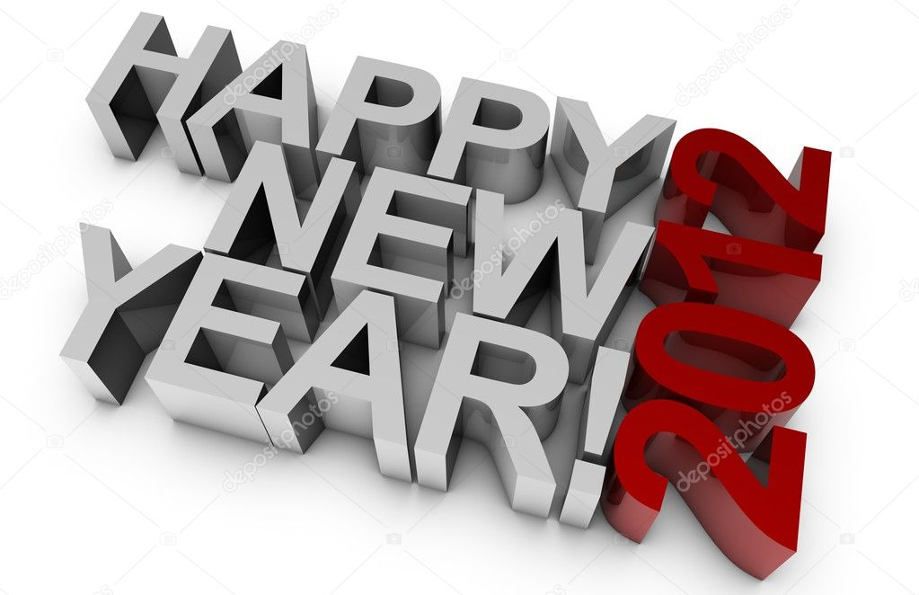 3D happy new year for the year 2012. — Stock Photo #3492046