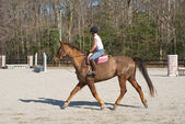 Young Woman Equestrian Training — Stock Photo