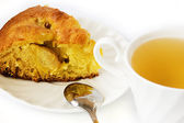 Apple pie and green tea — Stockfoto