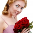 Woman with bunch of roses - Foto Stock