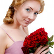 Woman with bunch of roses - Stockfoto