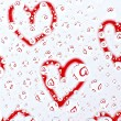Red hearts in water drops — Foto Stock