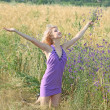 Royalty-Free Stock Photo: Beautiful girl in a lavender dress in a field