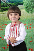 Boy in traditional costume against the backdrop of the field — Stock Photo
