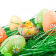 Easter eggs, chicken in grass — Stock Photo #2709517