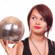 girl with discoball — Stock Photo