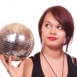 Girl with discoball — Stock Photo #2830672