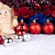 Stock Photo: Snowman and christmas balls on snow