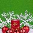 Red christmasballs with snowflakes — Stock Photo